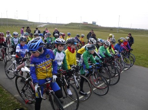Riders line up at Gravesends cyclo park for the youth racing 2013